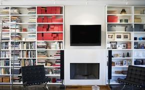 Картинка дизайн, книги, интерьер, кресло, телевизор, колонки