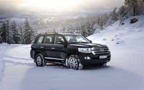 Картинка снег, черный, внедорожник, Toyota, Black, тойота, ланд крузер, Land Cruiser 200