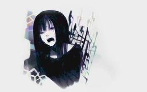 Картинка Девушка, слезы, серый фон