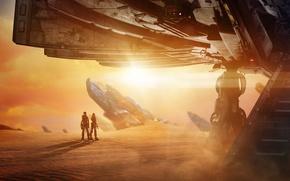 Обои камни, Кара Делевинь, фантастика, астронавты, скафандры, планета, солнце, космически корабль, Dane DeHaan, Cara Delevingne, песок, ...