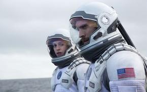 Картинка космос, скафандр, астронавты, Anne Hathaway, Энн Хэтэуэй, Interstellar, Интерстеллар, Уэс Бентли, Christopher Nolan, Wes Bentley, …
