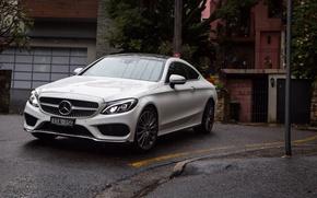 Картинка машина, фары, Mercedes-Benz, капот, вид спереди, Coupe, C 300, AMG line