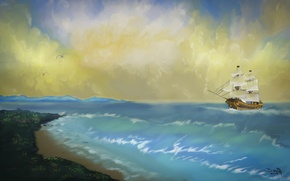 Картинка море, волны, небо, берег, корабль, чайки, арт, живопись