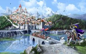 Картинка лес, горы, мост, city, город, озеро, замок, кони, fantasy, средневековье, рыцари, bridge, wood, mountains, lake, ...