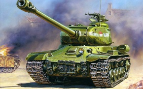 Картинка пушки, танк, ИС-2, тяжелый, советский, калибр, ww2., 122-мм, прорыва