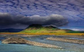 Картинка облака, природа, гора, Исландия