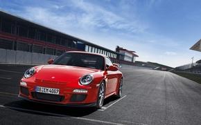 Обои асфальт, красный, трасса, спорткар, салон, старт, porsche 911 GT3