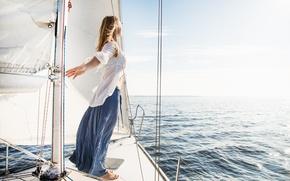 Картинка море, свобода, девушка, ветер, яхта