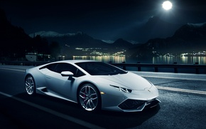 Картинка ночь, Lamborghini, горизонт, white, front, LP 610-4, Huracan, Ronaldo Stewart, LB724