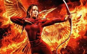 Картинка Girl, Red, Fire, Beautiful, Flame, Warrior, Wallpaper, War, Smoke, Bird, Jennifer Lawrence, Weapons, Walt Disney ...