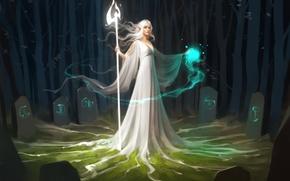 Картинка лес, девушка, деревья, магия, красота, маг, посох