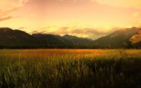 Картинка поле, горы, восход
