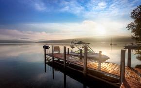 Обои пейзаж, рассвет, причал, мостик, лодка