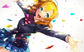 Картинка девушка, радость, аниме, арт, форма, школьница, kanipanda
