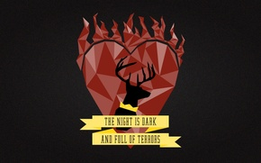 Картинка A Song of Ice and Fire, Game of Thrones, deer, Stannis Baratheon, R`hllor, flaming heart, …