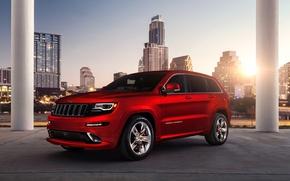 Картинка красный, city, город, здания, Джип, red, srt, grand cherokee, building, Jeep