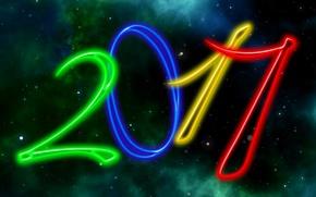 Обои небо, черный, 2017, новый год, новый 2017 год, фон, дата, темный, звезды, космос, ночь, огни, ...