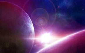Обои планеты, свет, арт, яркая, круги, звезда, космос, звезды