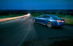 Картинка авто, ночь, Maserati, Quattroporte, выдержка, Novitec