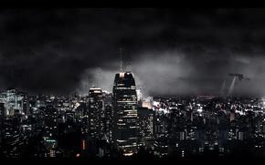 Картинка огни, корабли, небоскребы, Ночь