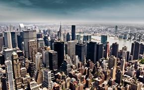 Обои небо, здания, высота, Нью-Йорк, небоскребы, мегаполис, new york