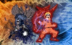 Картинка Аниме, Саске, Sasuke, Наруто, Naruto, Учиха, Uchiha, Uzumaki, Узумаки, Режим лиса, Чидори, Расенган, Проклятая печать