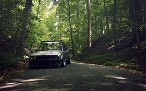 Картинка дорога, лес, серый, бмв, BMW, grey, sedan, E30, 3 серия