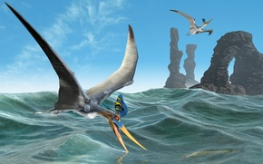 Обои море, полет, скалы, птица, арка, птеродактиль