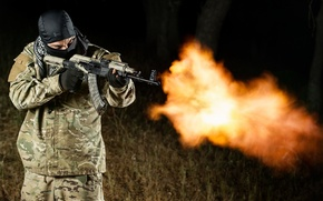 Картинка оружие, огонь, пламя, мужчина