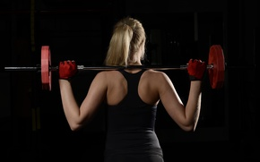Обои fitness, sportswear, weight bar, back