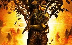 Картинка пистолет, дерево, прячется, Поедатель змей, Metal gear solid 3