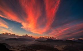Картинка горы, рассвет, долина, панорама, тибет