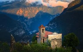 Картинка горы, Франция, церковь, панорама, France, Прованс-Альпы-Лазурный берег, Provence-Alpes-Côte d'Azur, Приморские Альпы, Турнефор, Alpes-Maritimes, Tournefort