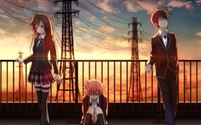 Картинка закат, девушки, провода, аниме, арт, форма, парень, школьники, yuigahama yui, hikigaya hachiman, yahari ore no ...