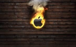 Картинка огонь, Apple, яблоко, горит