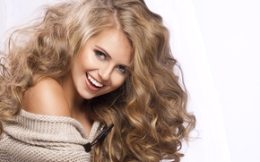Картинка девушка, радость, блондинка, кудри