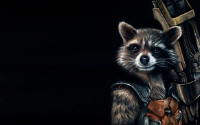 Картинка фон, арт, енот, Ракета, art, Стражи Галактики, Guardians of the Galaxy, Rocket raccoon