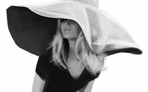 Картинка девушка, рисунок, шляпа, черно-белое, монохромное, Brigitte Bardot