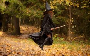 Картинка лес, чёрный, магия, девочка, полёт, шатенка, ведьма, метла, плащ