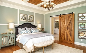 Обои дизайн, кровать, спальня