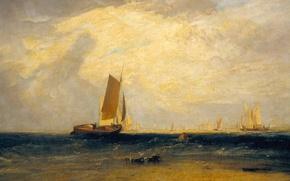 Обои картина, лодка, Уильям Тёрнер, морской пейзаж, парус, Fishing upon the Blythe-Sand
