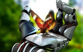 Обои механизм, рука, робот, бабочка