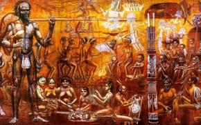 Картинка музыка, картина, австралия, история, аборигены, звуки, панно