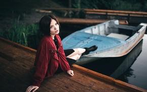 Картинка лето, вода, девушка, озеро, лодка, портрет, причал, арт, Victoria Berngard