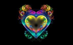 Картинка пузыри, фон, сердце, фрактал
