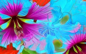 Обои лепестки, рендеринг, краски, линии, цветок