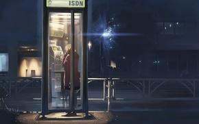 Картинка ночь, улица, девочка, фонарь, 5 сантиметров в секунду, Макото Синкай, телефонная будка
