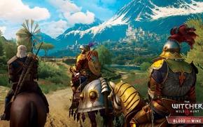 Картинка пейзаж, горы, красота, доспехи, рыцари, DLC, The Witcher 3: Wild Hunt, Blood and Wine, Туссент, ...