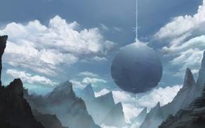 Картинка облака, горы, скалы, планета, луч, арт