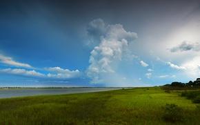 Картинка трава, облака, река